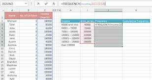 frequency distribution table in excel 32