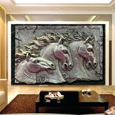 carving wall art murals wallpapers home decor photo background wallpaper horse sculpture metal style hotel bathroom