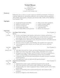 Fine Dining Server Resume Server Resume Example Restaurant Server Resume Example Resume