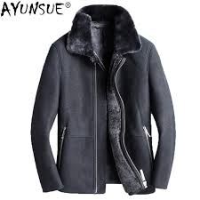 quality and safe ayunsue mens sheepskin coat winter genuine leather jacket men real fur coats shearling