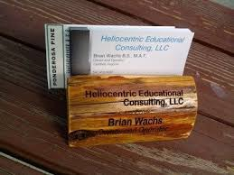 Hand Made Wooden Business Card Holder With Custom Engraving By