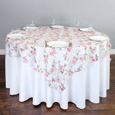 72 in square sheer with pink roses overlay 60 inch round table overlay size