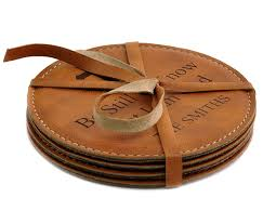 personalized leather coaster set round be still tan book com