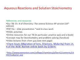 aqueous reactions and solution stoichiometry references and  1 aqueous