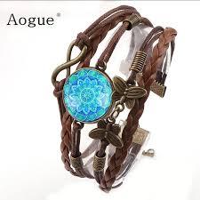 classic brown artificial leather magic blue mandala bracelet rock