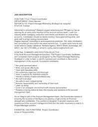 Marketing Coordinator Job Description Samples Printable Experience