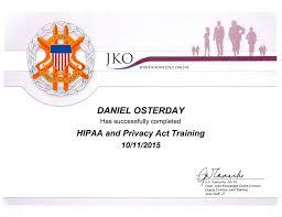 Select Certificates Daniel Osterday