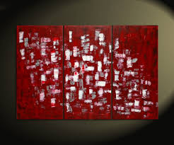 large red and white abstract art textured painting palette knife impasto triptych on canvas 45x30 huge