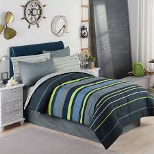 Gray, Blue & Green Boys Stripe Full Double Comforter Set (8 Piece Bed In A  Bag)