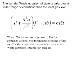 deviations from the ideal gas law and chemistry in atmosphere van der walls equation