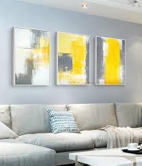 grey white and yellow wall art