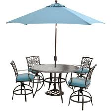 hanover traditions 5 piece aluminum round outdoor high dining set with swivel chairs umbrella