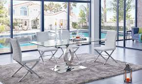 Glass top dining sets Base Furniture Stores Los Angeles Chanelle Modern Glass Top Dining Table