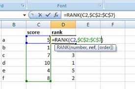 Rank Functions Excel Rank A List In Excel Using Rank Function