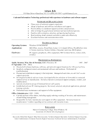 Endearing It Support Resume Samples In Sample Resume For Application
