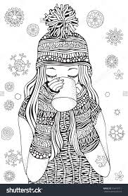 Winter Girl And Gifts Winter Snowflakes Adult Coloring Book Page
