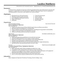 Heavy Equipment Supervisor Resume Best Heavy Equipment Operator Resume Example LiveCareer 16