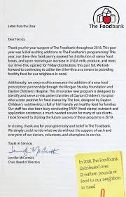 Letter Report Letter From The Chair Annual Report The Dayton Foodbank