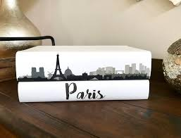 paris decorative book set city skyline books custom coffee image 0