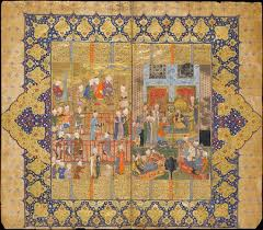 this double page image captures the splendour of the persian court on the right lohrasp who has just succeeded key khosrow is enthroned among courtiers