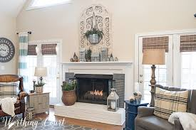 winter fireplace decor white painted brick fireplace farmhouse decor