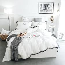 twin cotton duvet cover white pink grey tassels bedding sets twin queen king size duvet cover
