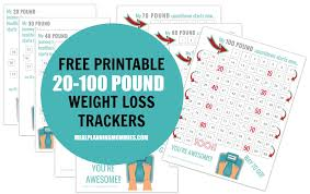 Free Printable 20 100 Pound Weight Loss Trackers Meal