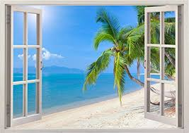 sunny day home office. huge sunny day at the beach ocean sea scape view home office kitchen kids nursery room o