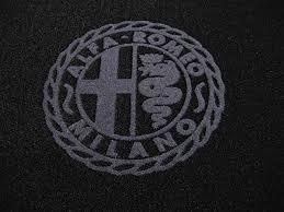 alfa romeo logo black and white. alfa milano logo trim romeo giulia sedan 19701976 floor mat set blackdark grey black and white