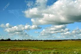 Cloud Saver Beautiful Field And Cloud Landscape For Screen Saver Stock Photo