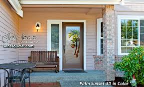 etched glass doors palm trees tropical