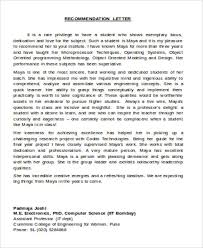 Recommendation Letter For Ms In Computer Science From