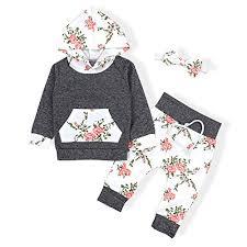baby s long sleeve flowers hoo tops and pants outfit with kangaroo pocket headband