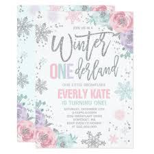 Snowflake Birthday Invitations Winter Onederland Birthday Invitation Pink Silver