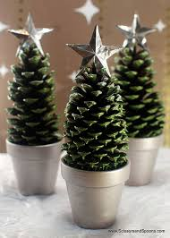 superb diy pinecone centerpiece green painted pinecone trees in a pot