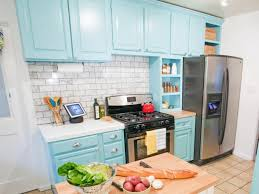 Great Repainting Kitchen Cabinets Blue Nice Look