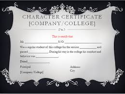 Format For Character Certificate For Students Character Certificate For College And University Students