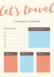 Itinerary Travel Template Customize 28 Itinerary Planner Templates Online Canva