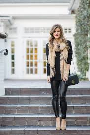 faux leather leggings winter date night outfit all black outfit tan and black outfit