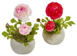 <b>Ranunculus Artificial</b> Arrangement in Beauty and White - Set of 2 ...