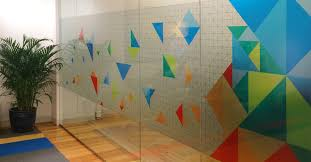 specially printed glass frosting that combines the look of etched glass and color