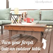 i went to and picked up some cedar boards to create a beautiful outdoor coffee table top that fits perfectly over my fire pit