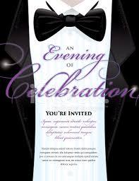 Elegant Black Tie Event Invitation Template With Tuxedo Design Stock