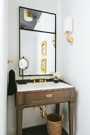 small powder room vanity. Contemporary Room Brown And Gold Powder Room With Walnut Sink Vanity Sconces Inside Small S