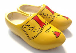 yellow wooden shoes with stripes