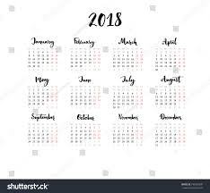 one page calender one page calendar 2018 calligraphy months stock vector royalty free