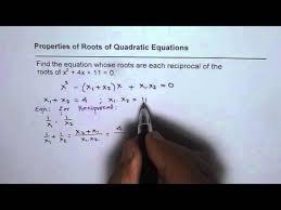 find quadratic equation with reciprocal