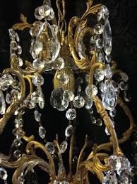 small antique brass crystal chandelier c 1920 5 of 7