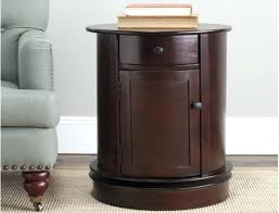 round cherry end tables table top with black legs