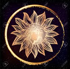 Bohemian Sun And Moon Tattoo Designillustration Alchemy Occult